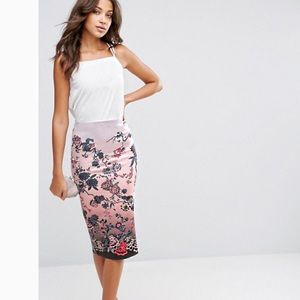 ASOS pencil skirt in scuba and floral print